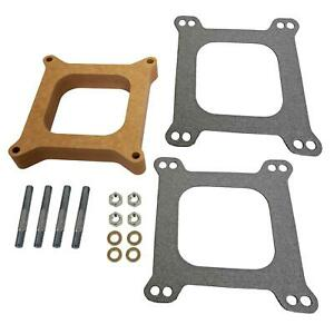 Edelbrock Carburetor Spacer 4 barrel Square Bore 1 Wood Open 8720