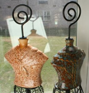 2 Black Scroll Wire Metal Hat Terracotta Table Top Mannequin Dress Form Ceramic