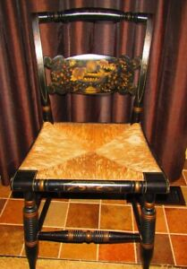 Beautiful Hitchcock Signed Side Chair With Rush Seat Stenciling Turtle Back