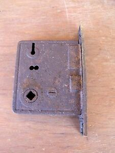 Vintage Hardware Mortise Lock Brass Latch Plate Use Repair Or Parts Re Purpose