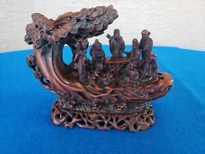Vintage Chinese Statue Eight Immortals Playing Board Game Base Tree L K