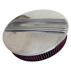 Cal Custom Finned Aluminum Air Cleaner 14 Dia Round Red Cotton Gauze Element