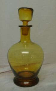 Vintage Amber Color Glass Hand Blown Decanter