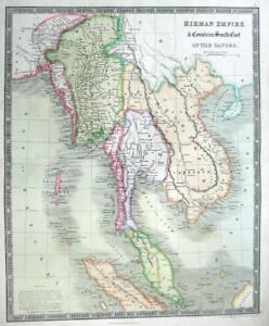 South East Asia Dower Teesdale Genuine Engraved Map Original Hand Colour 1844