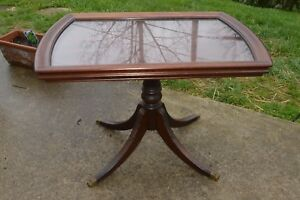 Vtg Brandt Solid Mahogany End Table Brass Claw Feet Glass Top 16 5 X25