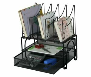 Mesh Desk Organizer With Double Trays Sliding Drawer And 5 Upright File Holder