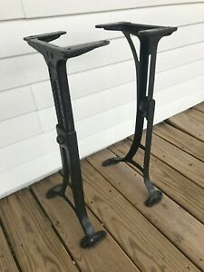 Antique Kenney Bros Wolkins Adjustable Cast Iron Table Desk Base Legs Large