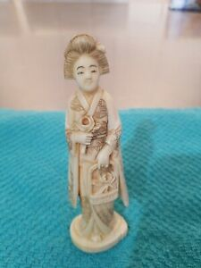 Vintage Japanese Carved Bovine Bone Geisha Girl Figure