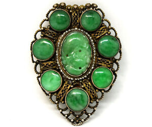 Antique Chinese Natural Hand Carved Jade And Sterling Silver Clip On Brooch Pin