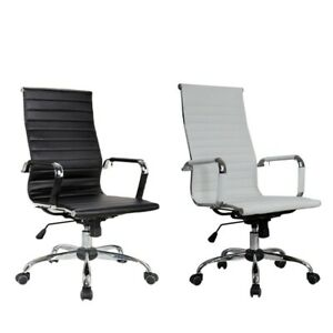 High Back Pu Leather Executive Office Desk Task Computer Meeting Black Chair New
