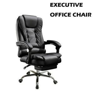Executive Swivel Office Chair Ergonomic Car Style Bucket Seat High Back Leather