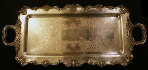 W And S Blackinton Silver Plate Victoria Pattern Large Footed Serving Tray 25
