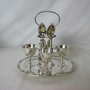 Stately English Silver Plated Egg Cruet Set For 4
