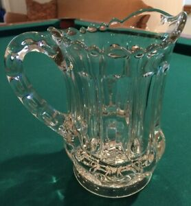 0419a Vintage Antique Large Heavy Pressed Glass Water Pitcher Clear Pretty