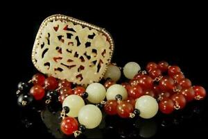 Old Chinese Carved Jade Hardstone Shou Carnelian Beads Seed Pearl Necklace D87 B