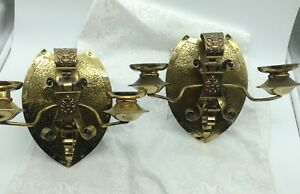 2 Antique French Style Shield Shape Brass Double 2 Candle Sconces Ornate Pair