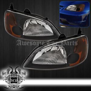 For 2001 2003 Honda Civic 2 4dr Coupe Sedan Headlights Jdm Black Housing Lh rh
