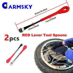 2pcs Red Handle Iron Tire Lever Spoon Changing Repair Tool Fit Motorcycle Bike