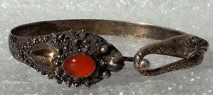 Cina China Old Chinese Dragon Snake Silver Bracelet Bangle With Fire Opal