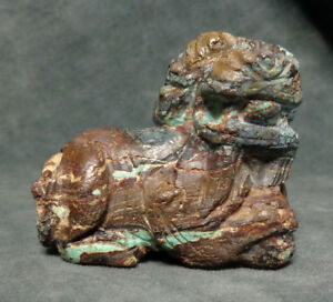 Cina China Old Chinese Foo Dog Carved In Turquoise Matrix