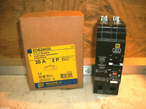 Square D Edb24020 Circuit Breaker 20a 2 Pole 277v new In Factory Box