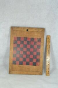 Antique Game Board Chess Checkers Hand Made Painted Original
