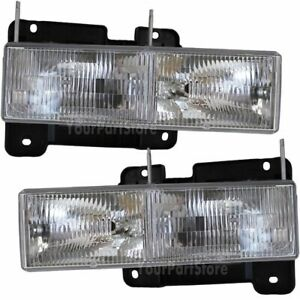90 91 92 93 94 95 96 97 98 Chevy Gmc Pu Pickup Truck Left And Right Headlights