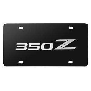 Nissan 350z 3d Silver Brush Metal Look Logo Black Stainless Steel License Plate