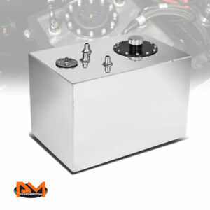 12 Gallon Top Feed Aluminum Fuel Cell gas Tank level Sender cap Polished Chrome