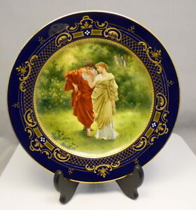 Antique 8 5 Royal Vienna Blue Beehive Cobalt Blue Porcelain Portrait Plate