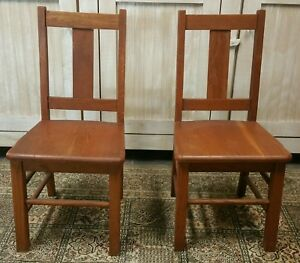 Vintage Lot Two Antique Wooden 29 Chair Solid Oak Wood School Furniture Child S