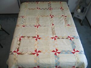 Antique C1800s 1900s Pinwheel Quilt Shirting Prints Hand Quilted 82 By 68 Inches