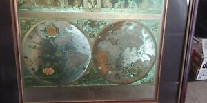 Vintage Framed Gold Foil Blaeu Wall Map Old And New World 32 By 26