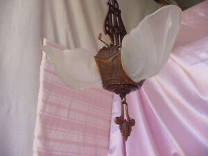 Antique Deco Hanging Slip Shade Lamp Fixture Vintage Chandelier Needs 1 Shade