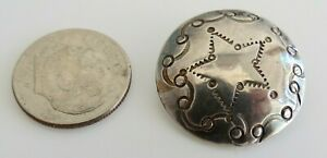 Vtg Navajo Hand Stamped Star Design Old Pawn Sterling Silver Button