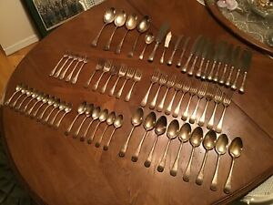 Birks Regency Silver Plate Queen Mary Flatware 65 Pieces Spoon Fork Knife Lot