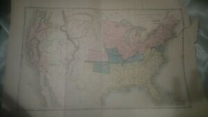 Antique Map Of United States Shows Indian Reservations And Slaveholding 1850s