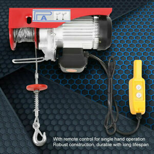 1320 Lbs Electric Cable Hoist Crane Lift Garage Auto Shop Winch W remote 110v Us