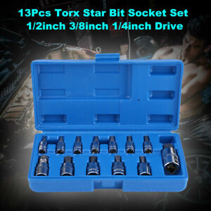 13pc Torx Star Bit Socket Tools Set 1 4 3 8 And 1 2 Us Stock