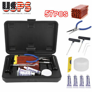 New Tire Repair Tools Kit Diy Flat For Car Truck Home Plug Patch 57pcs Us Stock