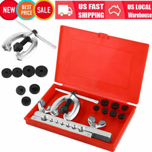 7 Dies Double Flare Tube Brake Lines Pipe Air Condition Tool Flaring Kit W Box