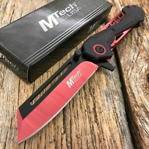 MTECH RED Cleaver Spring Assisted Blade Tactical Folding Pocket Knife TANTO T