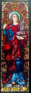 Mayer Of Munich Antique Church Stained Glass Window Of St Cecelia Jj100