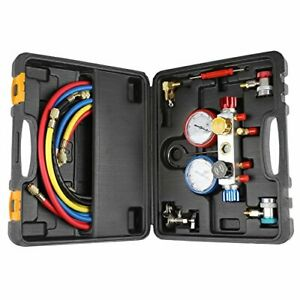 4 Way Ac Diagnostic Manifold Gauge Set For Freon Charging And Vacuum Pump Fits 3