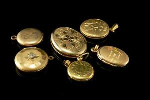 6 Old Collection Of Gold Filled Engraved Lockets A58691