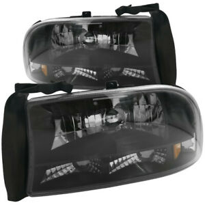 Black Clear Lens Amber Reflector Headlights Lamps For 98 03 Durango 97 04 Dakota