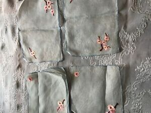Eight Beautiful Vintage Hand Embroidered Napkins