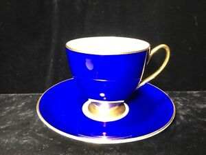 Vintage Shelley Royal Blue Teacup And Saucer Tea Cup Gold Accents