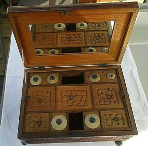 Antique 19thc Victorian Anglo Indian Carved Sandalwood Sewing Writing Box