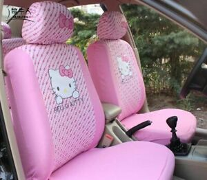 Pink Hello Kitty Car Seat Covers Front Cartoon Universal Car Interior Protector